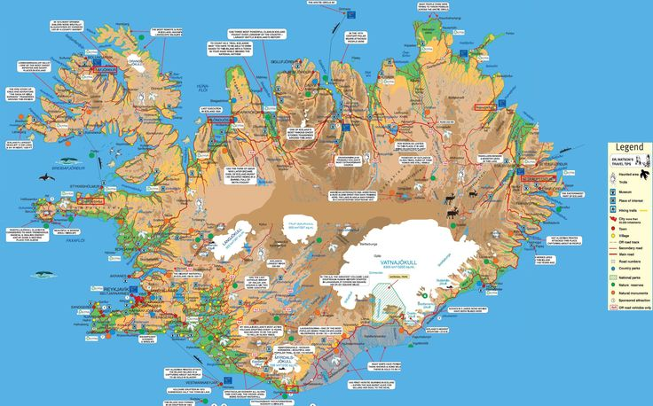 Detailed map listing most popular and interesting destinations in Iceland