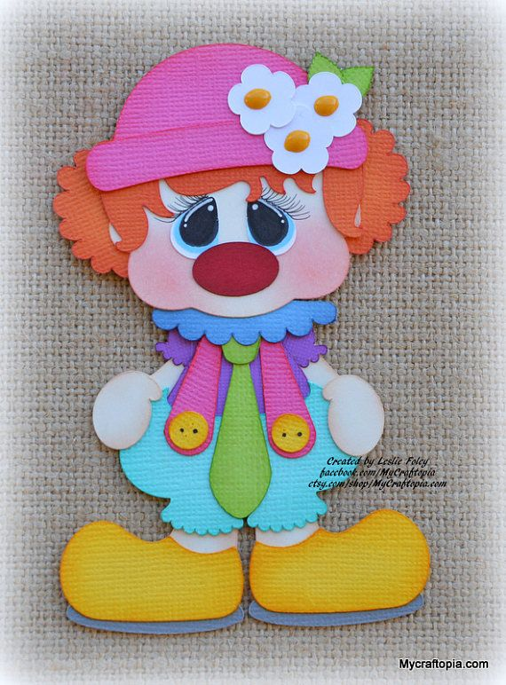 Payaso fiesta Premade Scrapbooking adorno papel Piecing