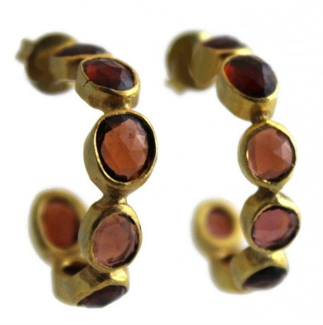 Joanne Garnet Hoop Earrings