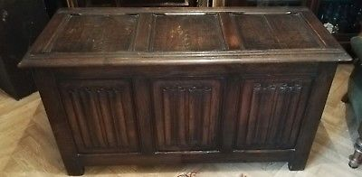 Fine Antique 18th Century Solid oak carved coffer Blanket linen box trunk Chest