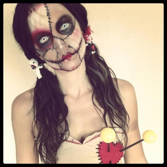 Voodoo Doll Makeup Idea For Halloween