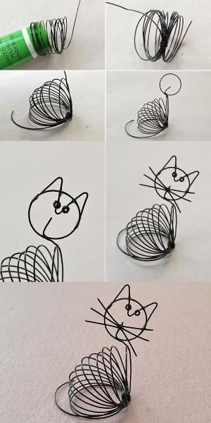 wire wrapped cat, so cute, like it? LC.Pandahall.com will publish the tutorial soon. #pandahall | Home Decorations | Pinterest by pilar laguna