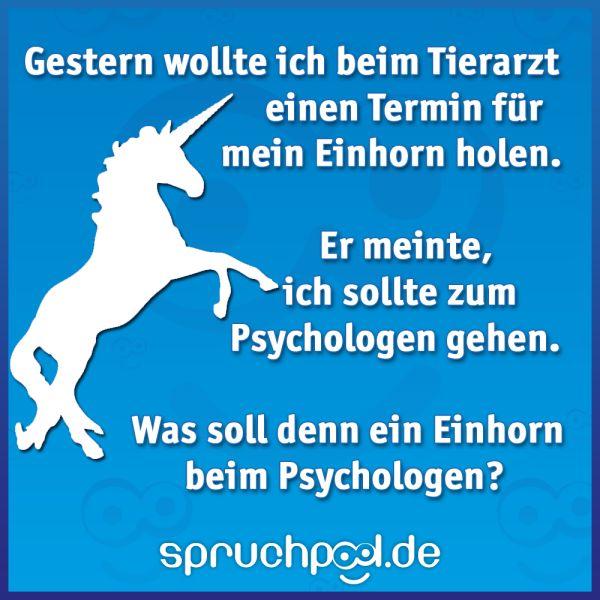 Gestern wollte ich beim Tierarzt einen Termin für mein Einhorn holen. Er meinte, ich sollte zum Psychologen gehen. Was soll denn ein Einhorn beim Psychologen?