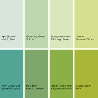 Green Paint Picks For Bathrooms Clockwise From Top Left 1 April Showers 149 2 Mythic Gloaming 6001 6a Valspar 3 Color Me Hy