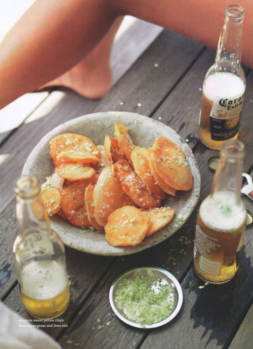 summer beer: Corona, Beer, Sweet Potato Chips, Food, Potatoes, Summer, Tempura Sweet