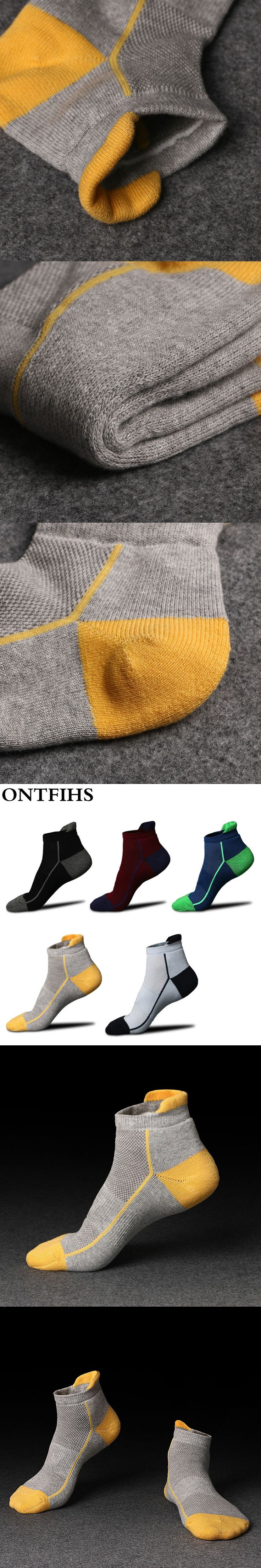 ONTFIHS  Brand Men Short Socks  Colorful Professional Men Waist Cotton Socks Calcetines De Ciclismo Compression Sock Mesh
