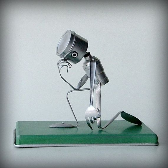 Tebowing  robot recycled art sculpture  kitchen robot by leuckit, $140.00