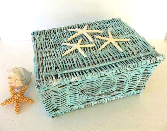 Starfish Basket, Beach Decor Aqua Blue hinged lid wicker basket, painted weathered, Nautical ocean Coastal decor, card holder, Home Decor