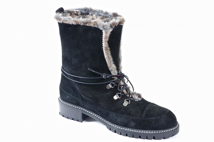 Bobsled by Stuart Weitzman - Faux fur trim and  lined combat bootie. This boot features a three eye tie, lug outsoles and a water resistant suede upper. Shaft is 7 inches high and may be cuffed down.  Available in medium and narrow widths.  Order now: http://millershoes.com/shop/boot/bobsled/