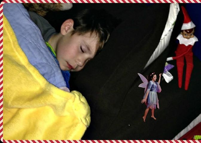 The elf on the shelf left this picture for my son as he lost his tooth the night before.  The Elf on the shelf helped to lift the pillow for the tooth fairy