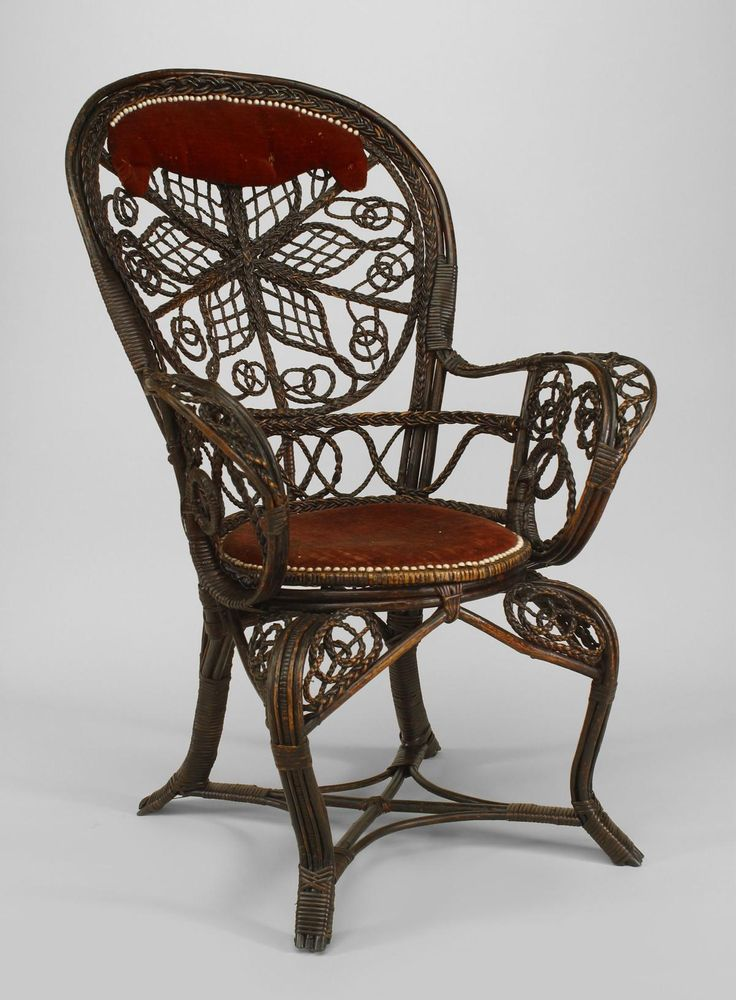 American Victorian Dark Stained Wicker Character Fan Back Arm Chairs With  Filigree Scroll Design And Red