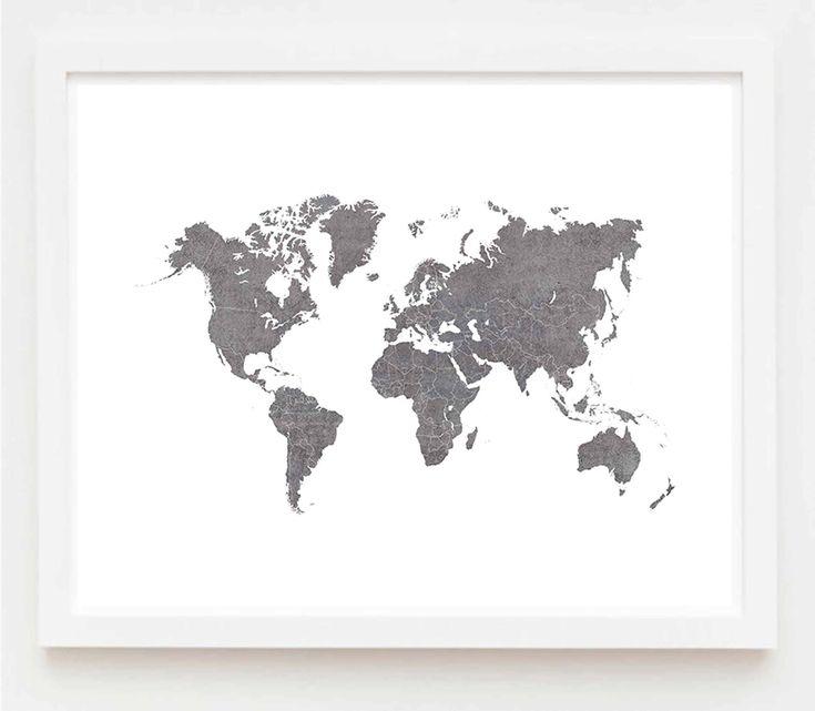 Gray World Map Art, World Map Wall Art, World Map Art Print, World Map Poster, Gift for Men, Modern Minimalist Map, Scandinavian Decor by Ikonolexi on Etsy
