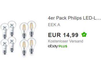 Epic Phliips LED Lampen im Viererpack f r Euro frei Haus https