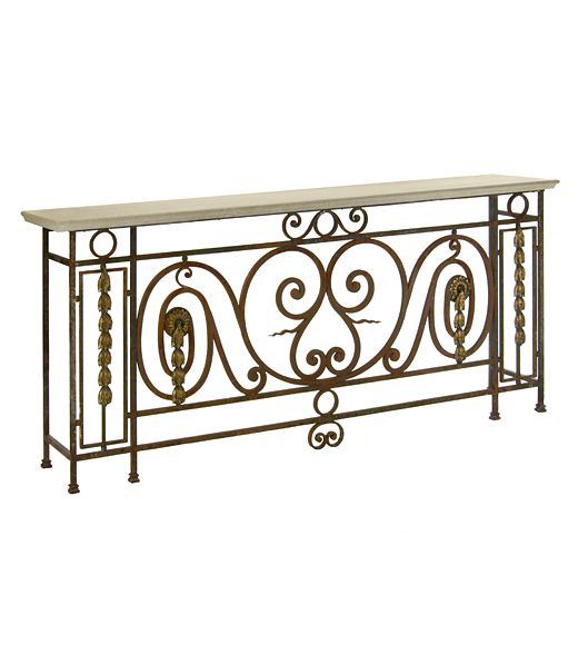 Console table made from an antique balcony railing with a for Balcony console