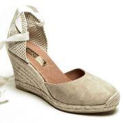 Cream Ankle Tie Espadrilles|Ladies Wedge Sandals|espadrille.co.uk
