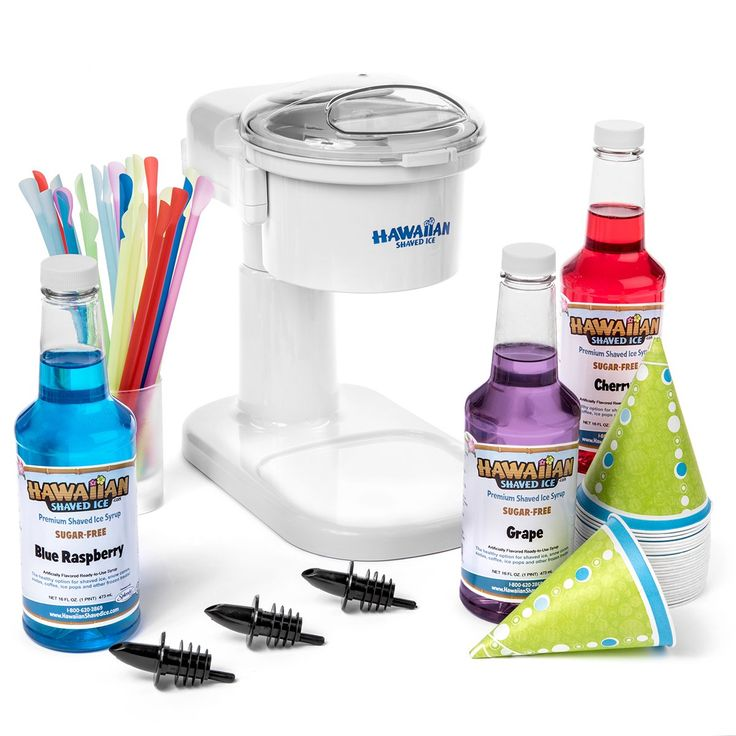 Hawaiian Shaved Ice SF145 Sugar-Free Snow Cone Package with Machine, Syrups & Accessories by White