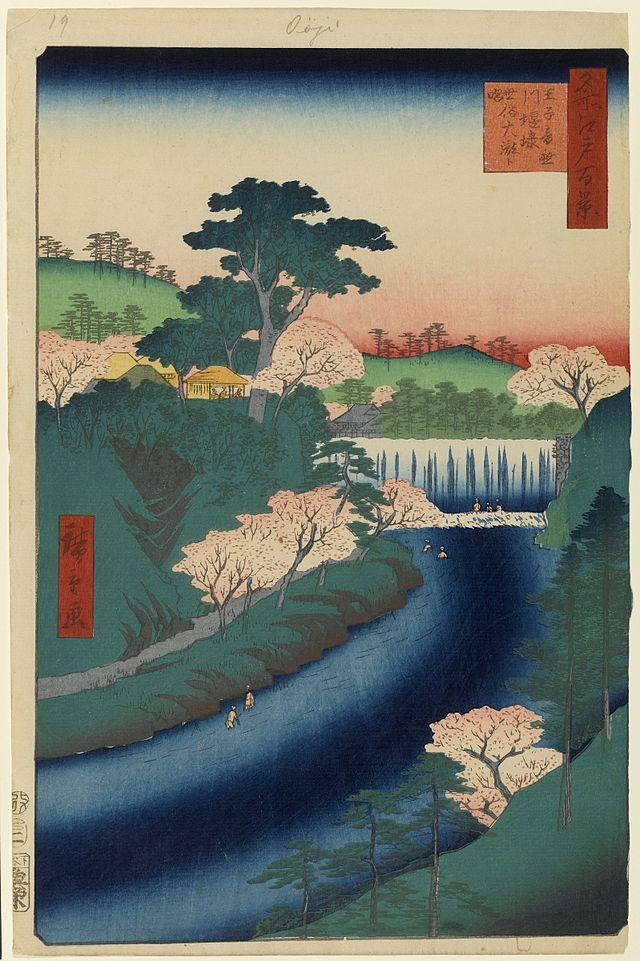"Hiroshige - One Hundred Famous Views of Edo Spring 19 Dam on the Otonashi River at Ōji, known as ""The Great Waterfall"" (王子音無川堰棣 世俗大瀧ト唱 Ōji Otonashigawa entei, sezoku Ōtaki to tonau?)	Otonashi River, Amida Hall of Kinrin-ji temple, Takata-chō	Likely created to mark Tokugawa Iesada's visit to Kinrin-ji (Ōji Shrine) and Takata on the 21st day of the first month (also see no. 115, 116)	1857 / 2	Ōji, Kita"