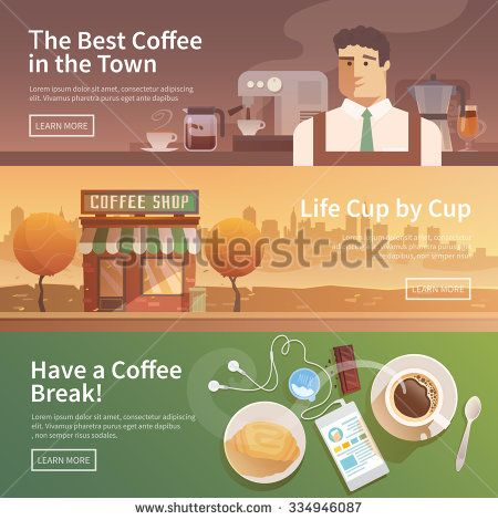 Beautiful set of vector banners for your projects. Coffee, coffee drinks.City, cityscape, landscape. Couple, a date. Evening. Cafe, coffee shop. Coffee house. Barista. Flat design.