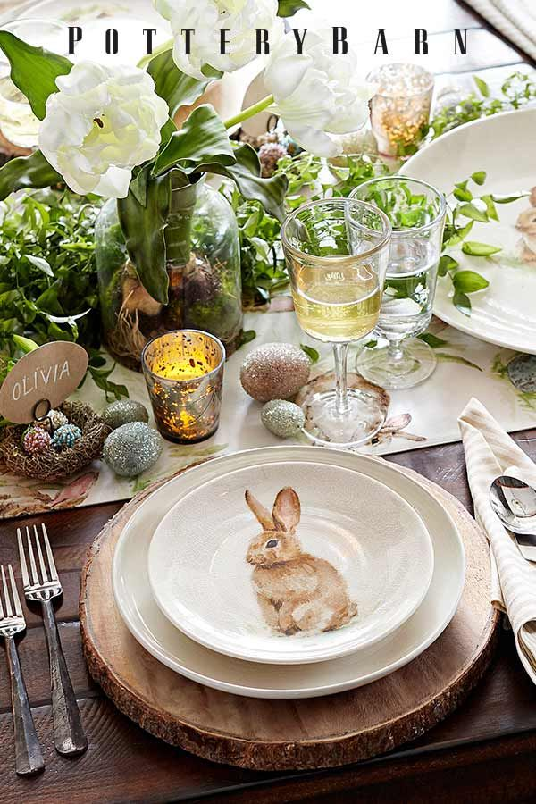 Get set for Easter with playful bunny decor cheerful colored linens and easy centerpieces that mix effortlessly with your favorite family heirlooms. & 939 best Table settings images on Pinterest | Table settings Place ...