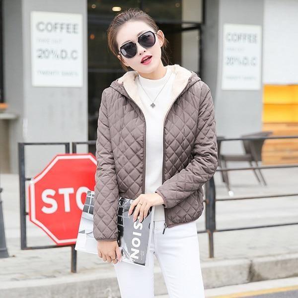 Winter Coat Women Solid Slim Hooded Basic Jackets Plus Size Thick Lamb Cotton Jackets Windbreaker Streetwear black XL