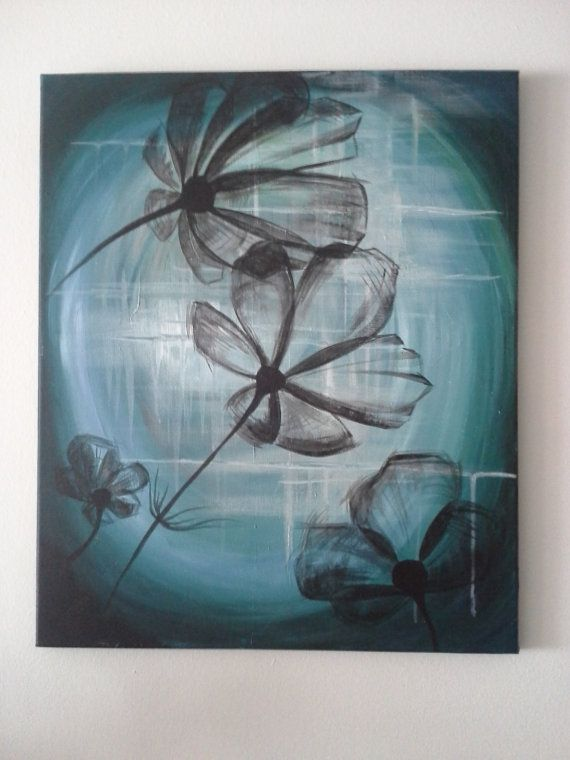 Acrylic painting of flowers 20x24in by AylaStellaShoppe on Etsy, $60.00