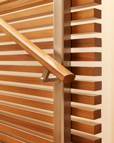 High Quality Handrail Detail On Wood Slat Staircase Wall.