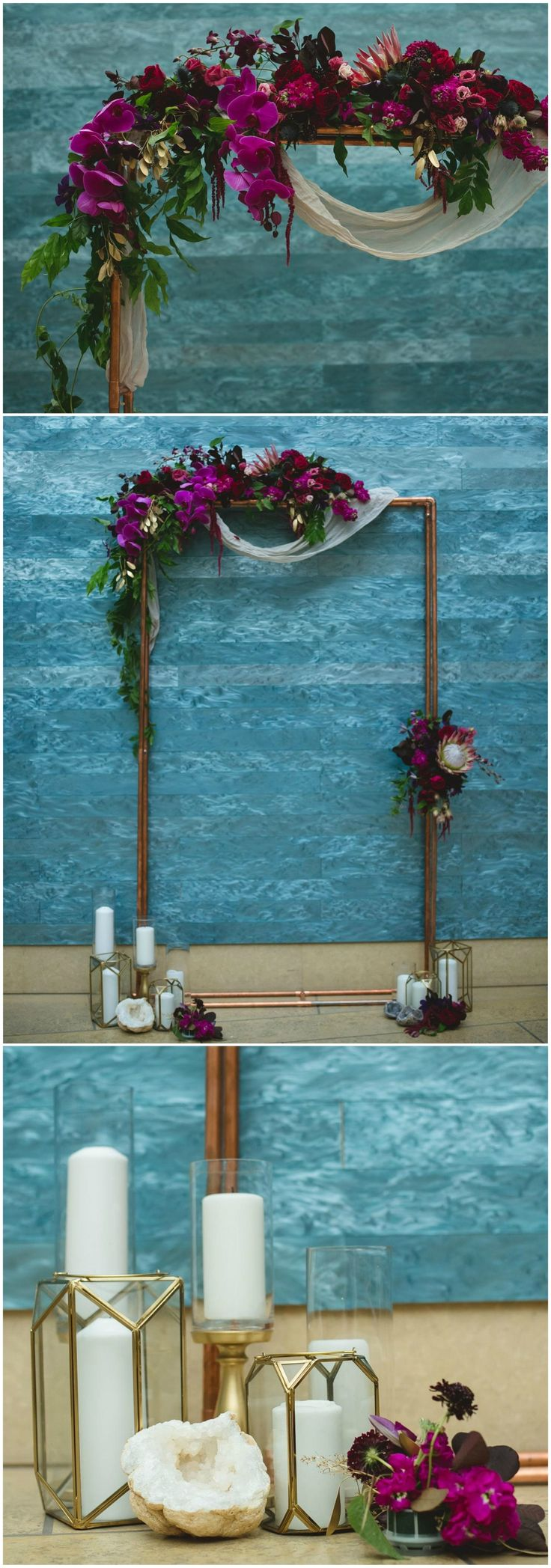 Modern lanterns, candles, wedding arch, gold & copper, orchids // Creatrix Photography