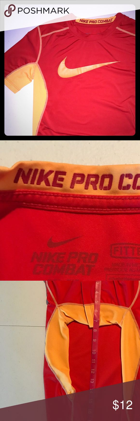 ✔️Nike Pro Combat Boys Medium  Dri-Fit✔️ Lightly worn boys EUC  Pro Combat Dri-Fit Nike worn only 5-6x. Son was not a fan of the color so it didn't get overworn. No signs of wear or stains!! Nike Shirts & Tops Tees - Short Sleeve