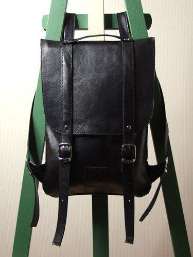 Black leather backpack rucksack / To order by kokosina on Etsy, $119.00