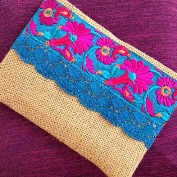 Floral Ethnic Clutch Mustard Yellow Handbag by BOHOCHICBYDAMLA