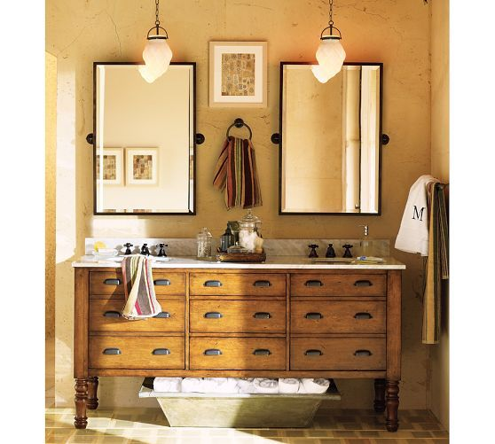 Barn Light Bathroom Vanity: Pottery Barn. Two Bronze Tilt