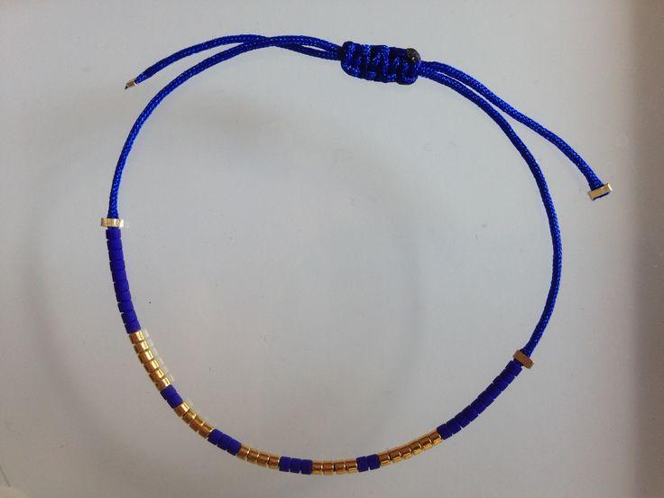 Bracelet en fil de jade cobalt et perles de verre japonaises en plaqué Or : Bracelet par feespaillettes