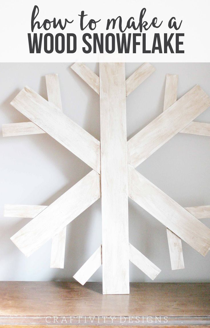 How to Make a Wood Snowflake without power tools! Giant Snowflake Wreath by @CraftivityD