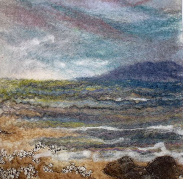 'Moody Seas' SOLD - Threlfall's Art Studio | Silk Paintings | Felt Paintings | Acrylics | Caren and Pete | Country, Town and Seascapes |...