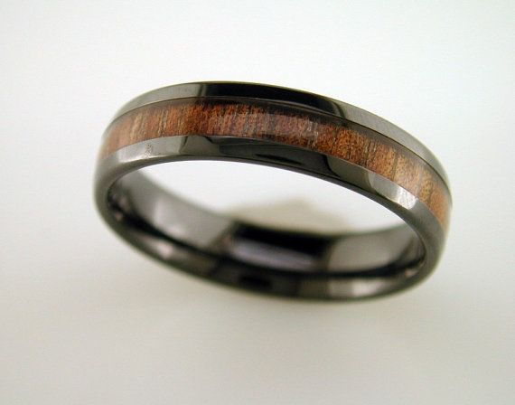 black ceramic koa wood ring with double row mens wedding ring 6mm