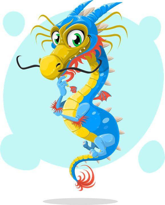 Dragon, Chino, Azul, Bigote, China, Lindo, Adorable