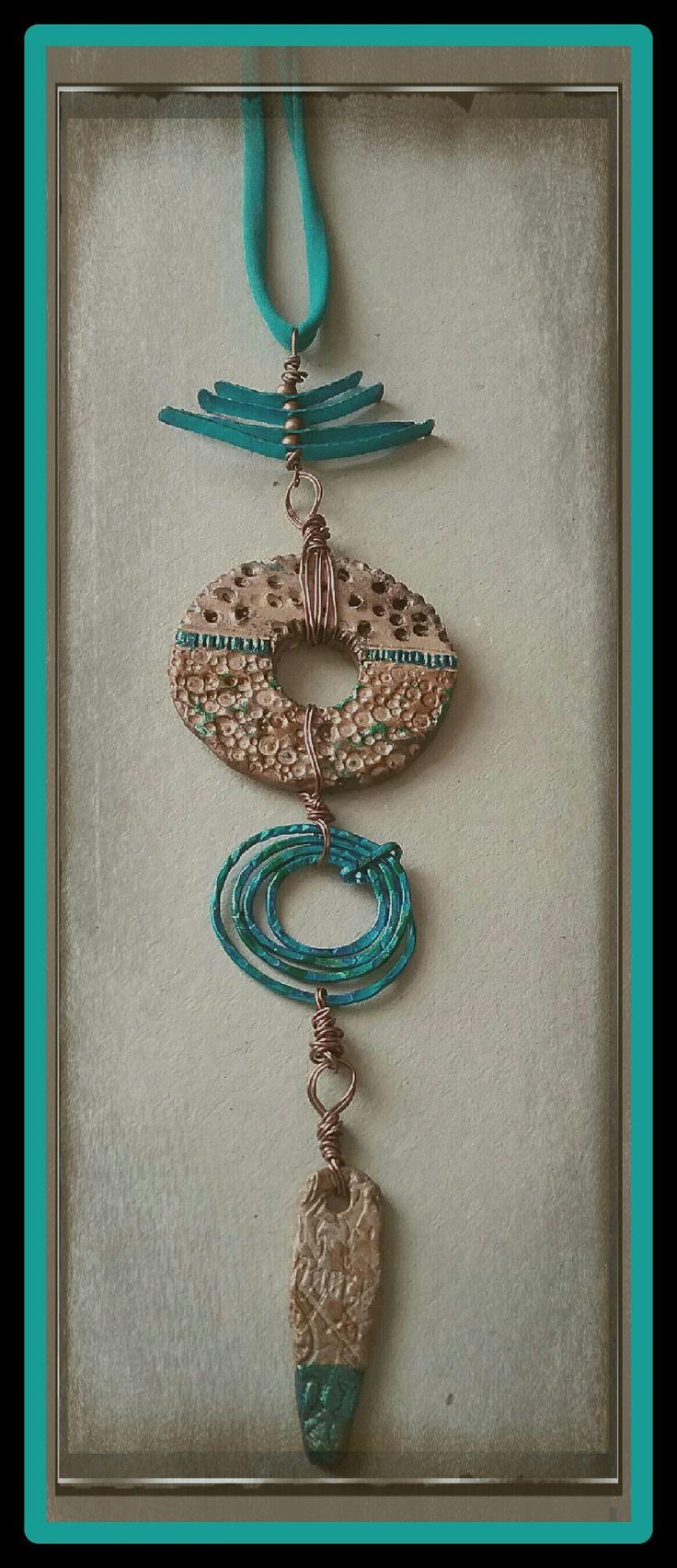 Handmade pendant necklace clay wire rustic primitive - aqua and sand - unique and original