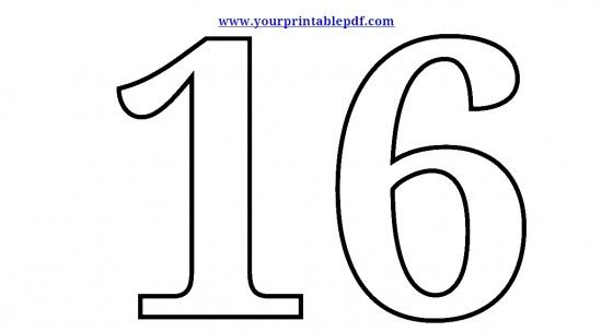 Free printable numbers 16 Sixteen Coloring sheets