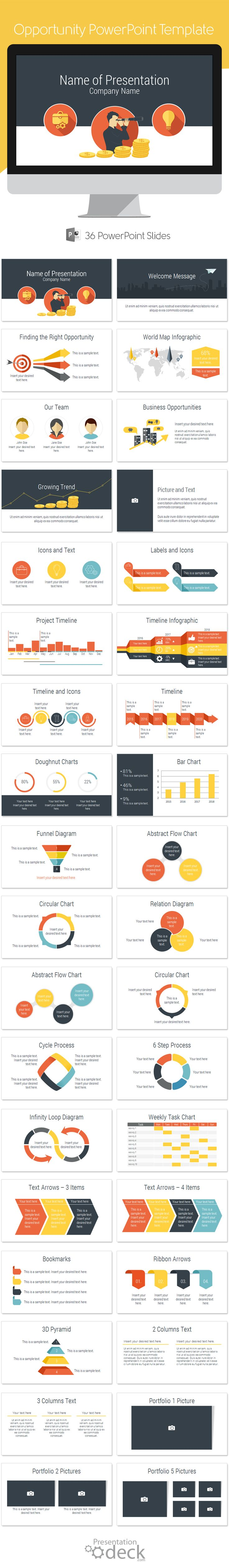Opportunity PowerPoint template in flat design style with 36 pre-designed…