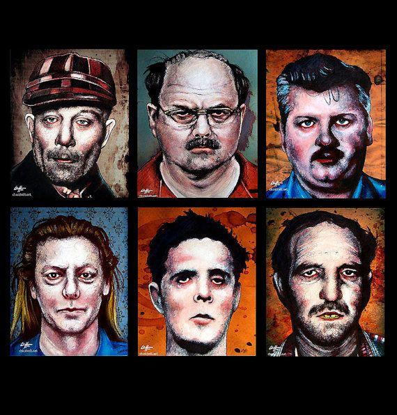 """Prints 8x10"""" - The Alternate Serial Killer Series - Dark Art Horror True Crime Pop Art Gothic Death Clown Murder Leatherface Cult Monster on Etsy, $35.00"""
