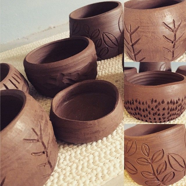 Little wobbly pots all trimmed up and ready to bisque #pottery @clay #makeallthethings -K