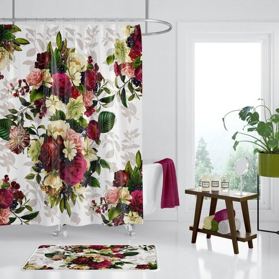 Winter Floral Shower Curtain Romantic Holiday Flowers Designer