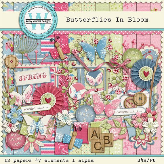 Butterflies In Bloom Digital Scrapbooking Kit by KWintersDesigns