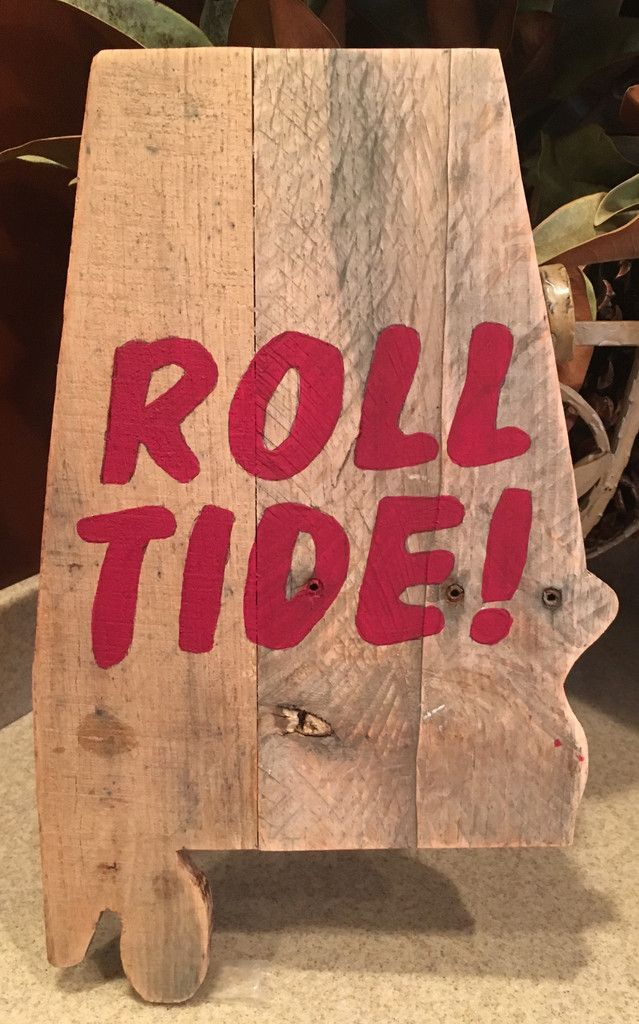 Small Hand Painted Crimson Roll Tide On State Of Alabama