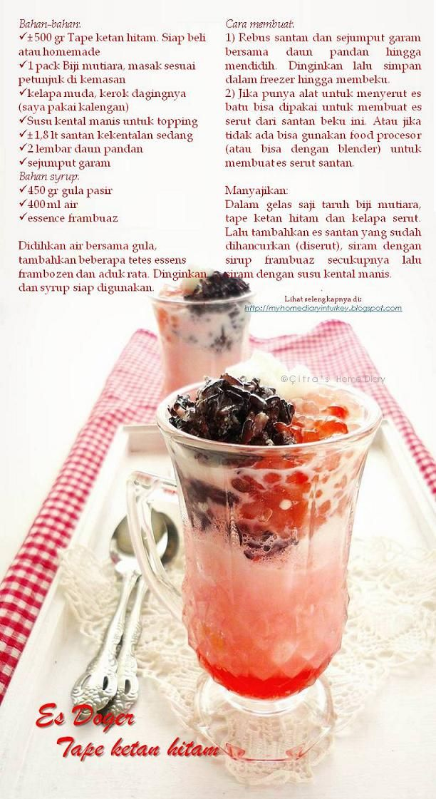 "Citra's Home Diary: Es Doger Tape ketan hitam / Indonesian cold drink ""es doger"""