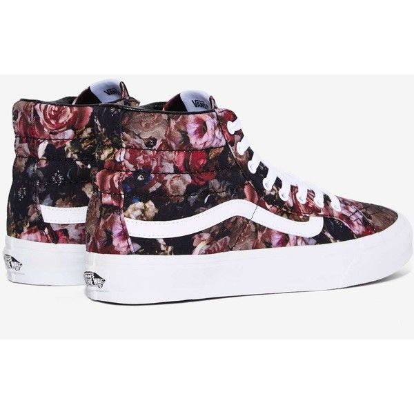 Vans Sk8-Hi Sneaker ($70) ❤ liked on Polyvore featuring shoes, sneakers, black, floral platform sneakers, platform shoes, black platform shoes, black high top sneakers and black shoes