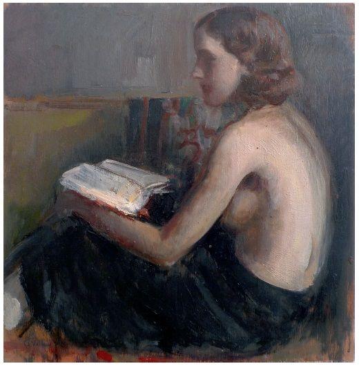Gennaro Villani (Napoli 1885- 1948) La lettura 1930 olio su tavola cm 39,5x38 Napoli Coll. Privata