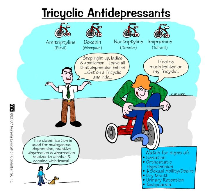 Tricyclic Antidepressants - usage of tricycles is a cute way to help learn the information. DLW