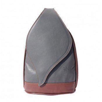 - Leren Rugzak grote model met mooie blad vorm flap grijs met bruin kleur