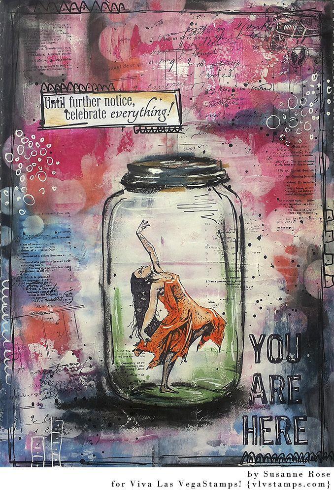 Susanne Rose - Papierkleckse: Art Journal Page with Viva Las Vegastamps